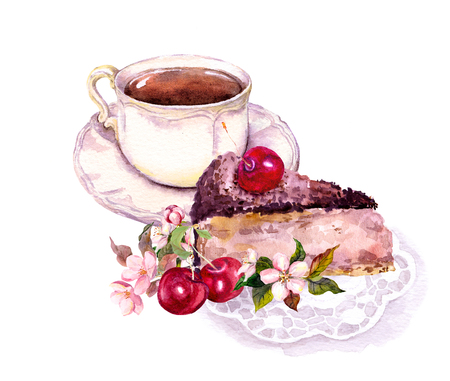 Cup of coffee or tea, chocolate cake with cherry fruits and flowers. Watercolor