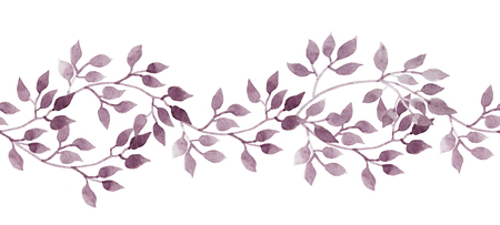 Seamless stripe banner - hand painted watercolour leaves. Repeated pattern. Stock Photo