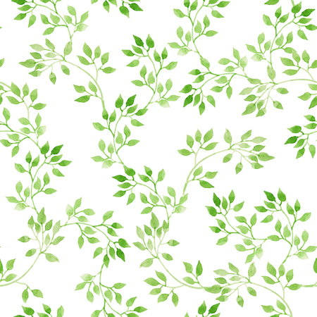 Green leaves. Repeating pattern. Watercolor Stock Photo