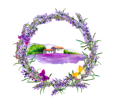 provence: Rural farmhouse, lavender flowers field in Provence. Watercolor Stock Photo