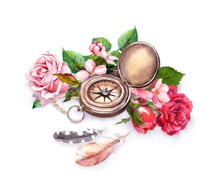 Vintage watercolor with compass, flowers, feathers. Travel adventure concept