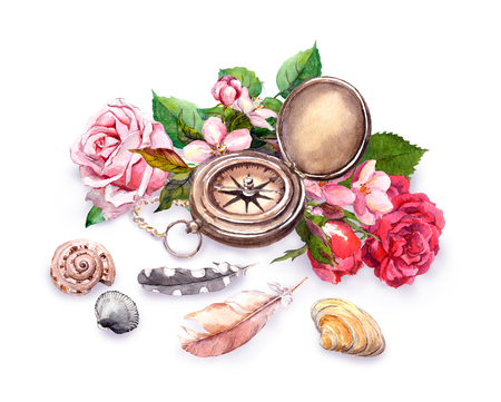 chic: Vintage compass, flowers, sea shells, feathers. Travel concept. Watercolor Stock Photo