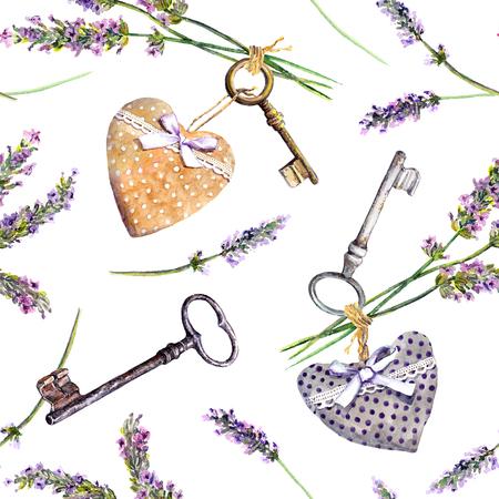 Franse plattelandse achtergrond - lavendelbloemen, vintage sleutels, textielharten. Naadloos patroon, landstijl van de Provence. Waterverf