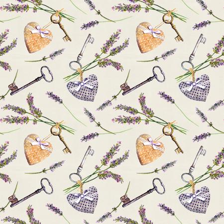 Rustiek patroon - lavendelbloemen, retro sleutels, textielharten. Naadloos behang voor binnenlands ontwerp, landelijke stijl van de Provence. Waterverf