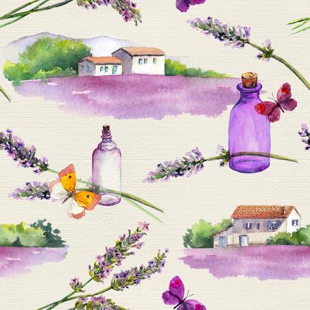 Lavender flowers, oil perfume bottles, butterflies, farm houses with lavender fields. Repeating pattern. Vintage watercolor