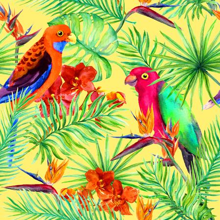 Tropische papegaaivogel, junglebladeren, exotische bloemen. Naadloos patroon. Waterkleur Stockfoto