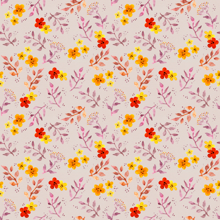 Seamless fantasy floral background with cute flowers. Watercolor painted drawing Stock Photo