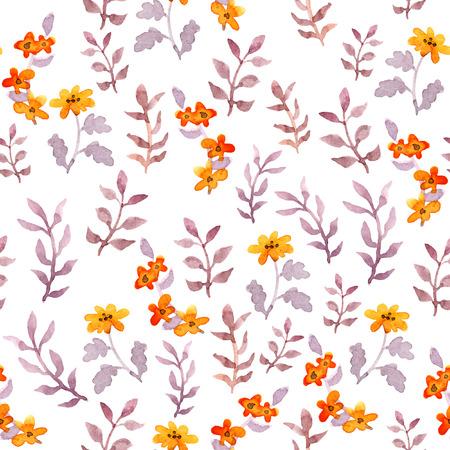 Naadloos eenvoudig bloemenpatroon. Vintage schattige bloemen en bladeren op witte achtergrond. Waterverf Stockfoto