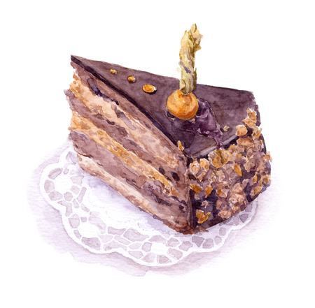 Chocolate-praline cake with ground-cherry berry, Watercolor Stock Photo