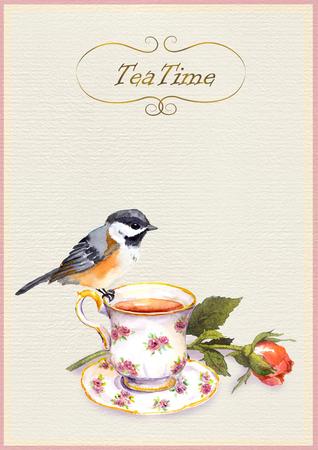 Waterverf geschilderde theatime kaart met thee kopje, mooie vogel en roos bloem