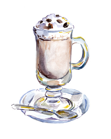 Watercolor painted glass of coffee with foam. Food illustration
