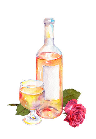 Wine glass and wine bottle with pink or white wine and red rose flower. Watercolor Stock Photo