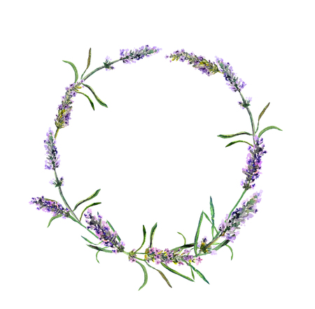 Lavender flowers wreath. Watercolor round floral border