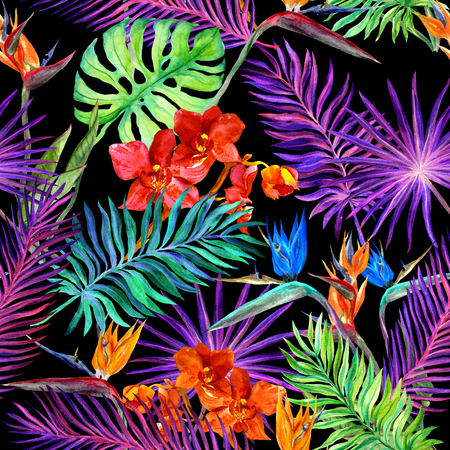 allover: Tropical design for fashion: exotic leaves, orchid flowers in neon light. Seamless pattern. Watercolor Stock Photo