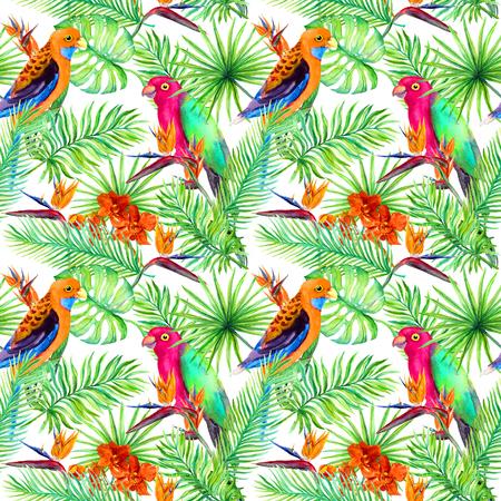 Jungle papegaaien, exotische planten - palm, monstera, bloemen. Herhalend patroon. Aquarel Stockfoto - 84683339