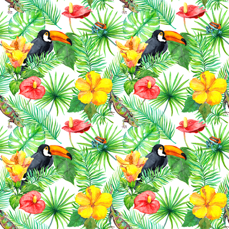 allover: Toucan, gecko, tropical leaves, exotic flowers. Seamless jungle pattern. Watercolor