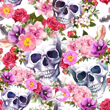 Human skulls, flowers. Seamless pattern. Watercolor