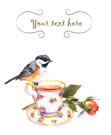 Vintage invitation card with retro design - watercolor bird, tea cup and rose flower