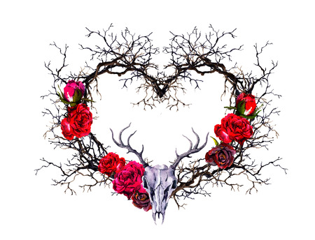Heart shape, deer animal skull. Branches, rose flowers. Watercolor in gothic style