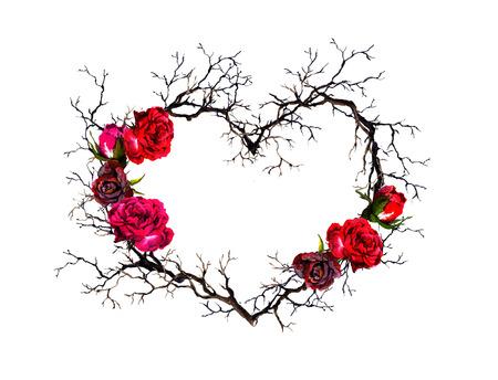 Bloemenkroon - hartvorm. Takjes, roze bloemen. Aquarel, gotische stijl