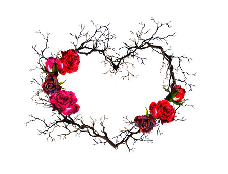 Floral wreath - heart shape. Twigs, rose flowers. Watercolor, gothic style