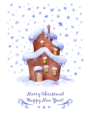 Leuk huis in de sneeuw. Kerstmis van de groet, nieuwjaarskaart. Waterverf