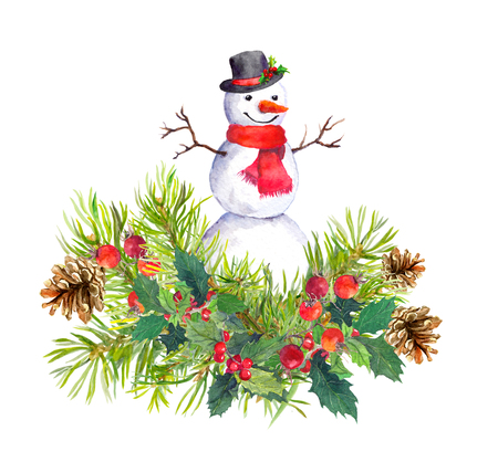 Snowman in top hat and red scarf, fir tree, mistletoe. Watercolor for new year or christmas card Stock Photo