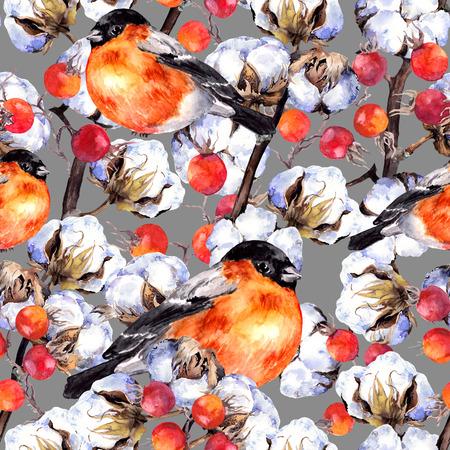 Katoenen planttakken, rode bessen, wintervinkvogels. Herhalend patroon. Waterverf