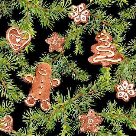 Ginger bread man, cookies and pine branches. Repeating background for christmas design. Watercolor