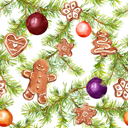 Christmas baubles, gingerbread, conifer tree branches. Seamless pattern for christmas design. Watercolor Stock Photo