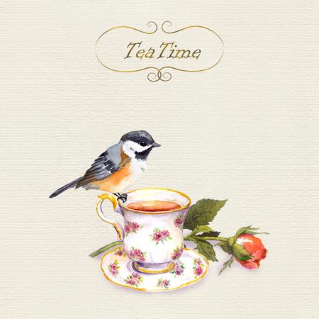 Vintage ansichtkaart met retro design - aquarel vogel, kopje thee en roze bloem Stockfoto