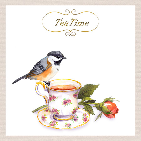Vintage teatime card with cute watercolour bird, tea cup, rose flower Stockfoto - 90607683