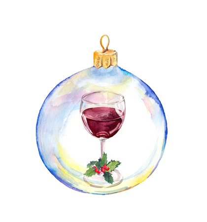 Christmas transparent bauble with red wine glass and mistletoe. Watercolor