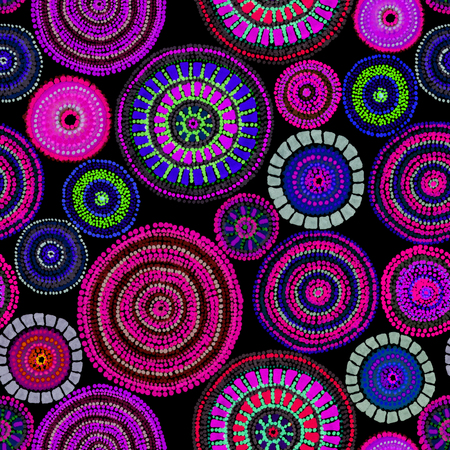Australian design with dots - circles, waves. Seamless pattern
