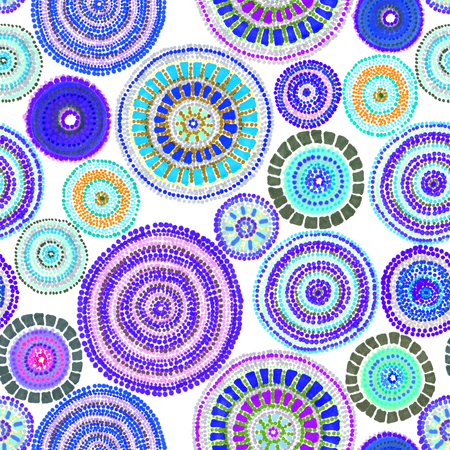 Australian ornament - circle and dots. Seamless background. Hand drawing