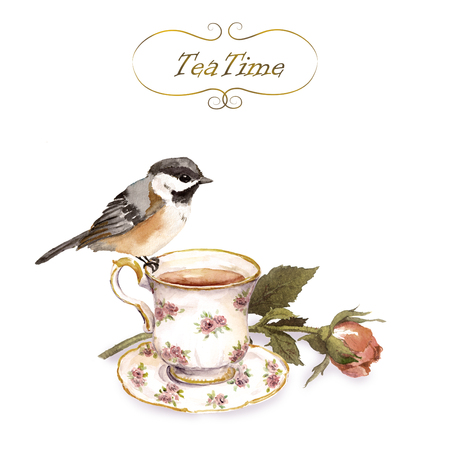 Vintage invitation card with retro design - bird, tea cup, rose flower bud in shabby color Stockfoto