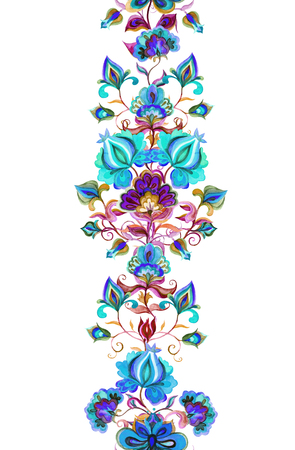 Eastern european floral decor - decorative flowers at dark background. Seamless floral border. Watercolor stripe 스톡 콘텐츠