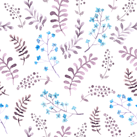 Cute repeat pattern with naive flowers and leaves. Watercolor Stockfoto
