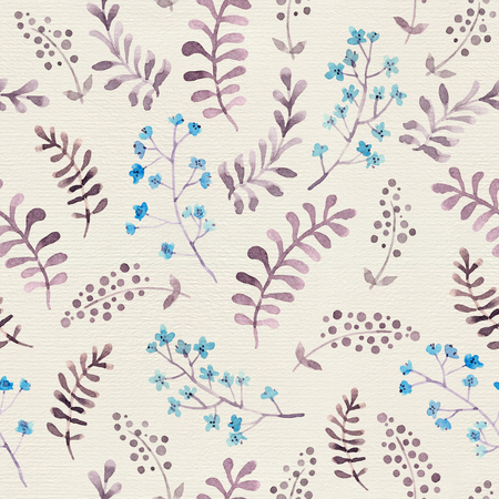 Cute repeat pattern with naive flowers and leaves. Watercolor Reklamní fotografie