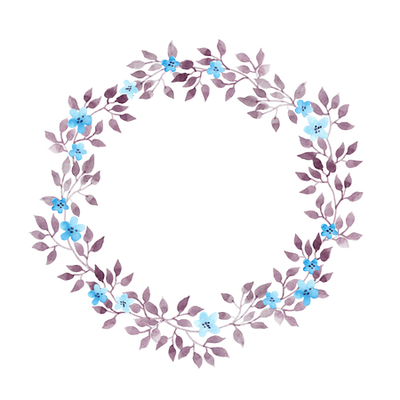 Floral wreath with cute flowers, leaves. Watercolor hand painted drawing Stock Photo