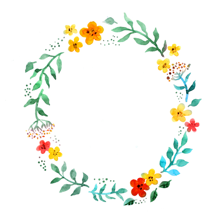 Floral circle wreath with cute flowers. Watercolor hand painted border Stockfoto