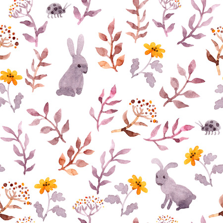 Seamless floral pattern - cute flowers, leaves and watercolour hares Stockfoto - 98617106