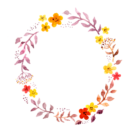 Floral ring wreath with retro naive cute flowers. Watercolour hand painted round frame for postcard Stockfoto - 98617107