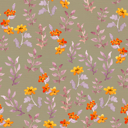 Vintage seamless primitive floral wallpaper. Cute flowers and leaves. Watercolour Stockfoto - 98617116