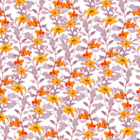 Seamless cute floral pattern. Vintage pretty flowers and leaves. Watercolor Stockfoto
