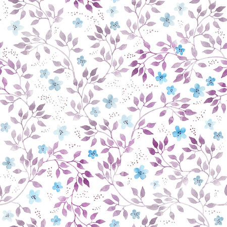 Ditsy flowers, leaves. Seamless floral pattern. Hand drawn watercolor