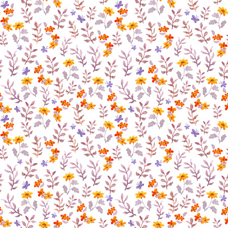 Seamless retro decorative floral swatch. Cute flowers, leaves and retro butterflies. Aquarelle Stockfoto - 102036838