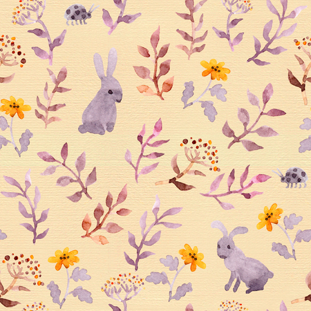 Seamless floral pattern - cute flowers, hand painted leaves and watercolor rabbits Stockfoto - 101542027