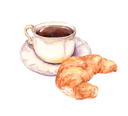 Cup of coffee and croissant. Watercolor
