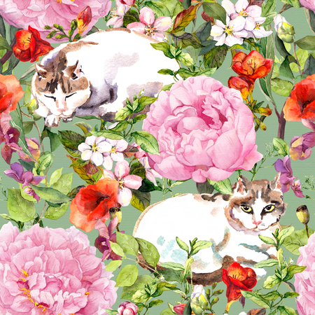 Cat sleeping in grass, flowers. Floral seamless pattern. Watercolor Stock Photo